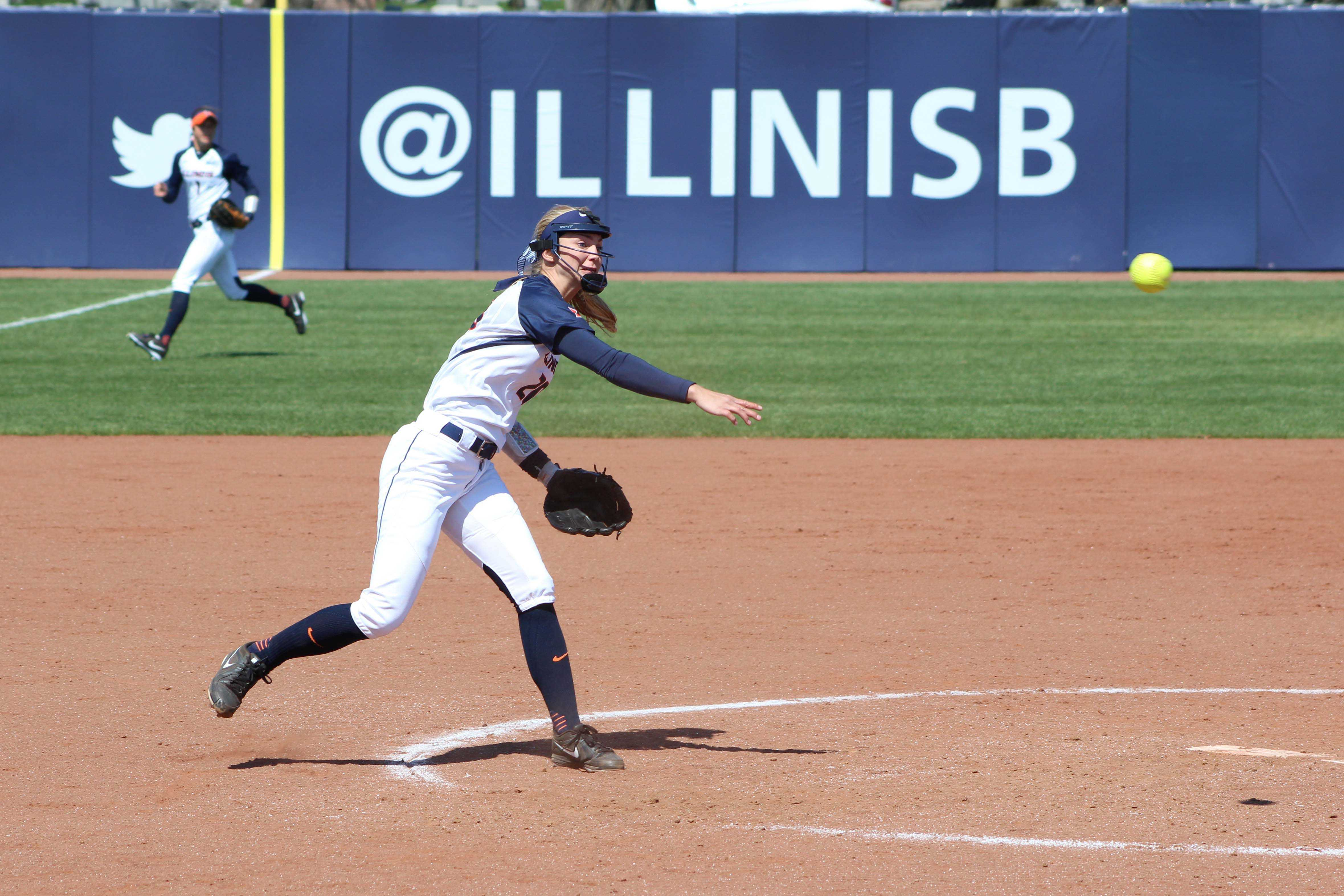 Illinois' Breanna Wonderly delivers the pitch against Nebraska at Eichelberger Field on April 2 In this year's I-75 Challenge, the senior started off the weekend pulling out a five-inning shutout against Georgia State.
