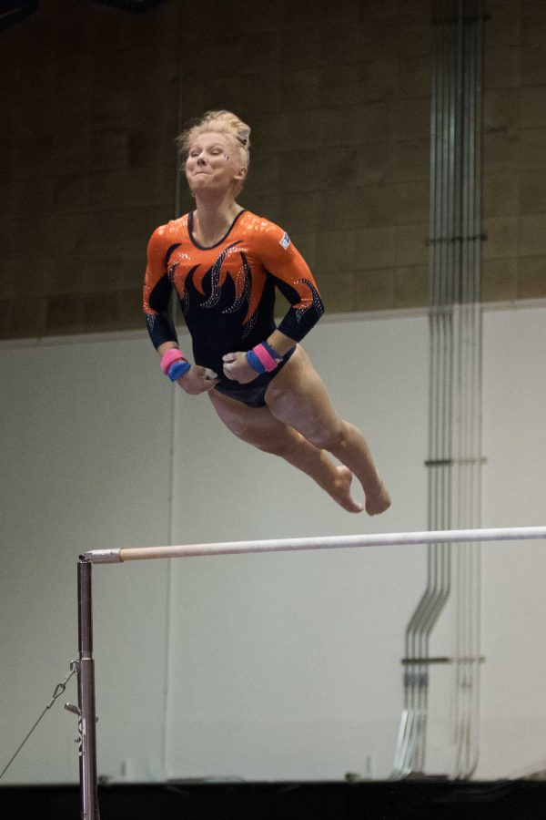 Erin Buchanan competes on bars against Michigan State in Huff Hall on February 17.