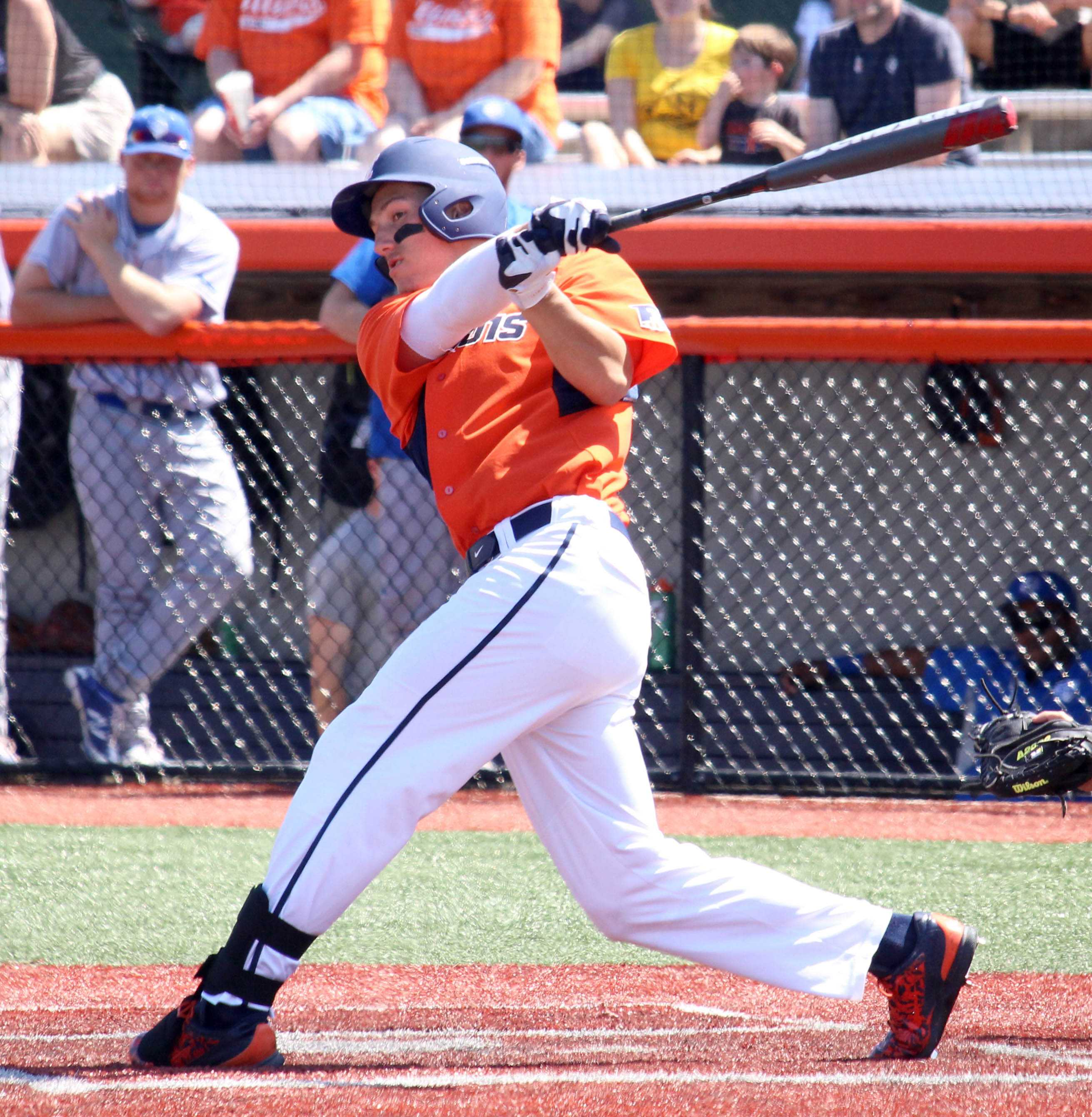 Illinois' Pat McInerney singles at Illinois Field on April 17, 2016.