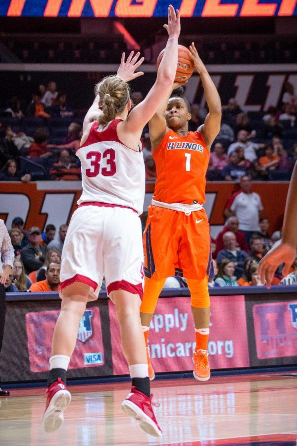 Illinois%E2%80%99+Brandi+Beasley+shoots+a+three+during+the+game+against+Indiana+at+State+Farm+Center%0Aon+Saturday.+The+Illini+advanced+in+the+tournament+on+Wednesday+to+play+the+Boilermakers.+