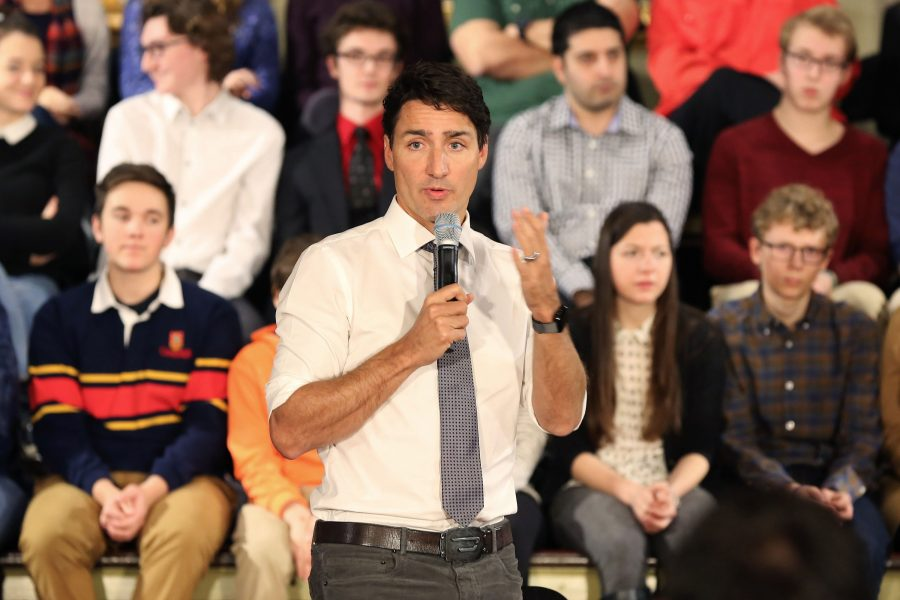 Prime Minister Justin Trudeau speaks during a town hall meeting at the Memorial hall at city hall on January 12, 2017 in Kingston, Ontario, Canada.