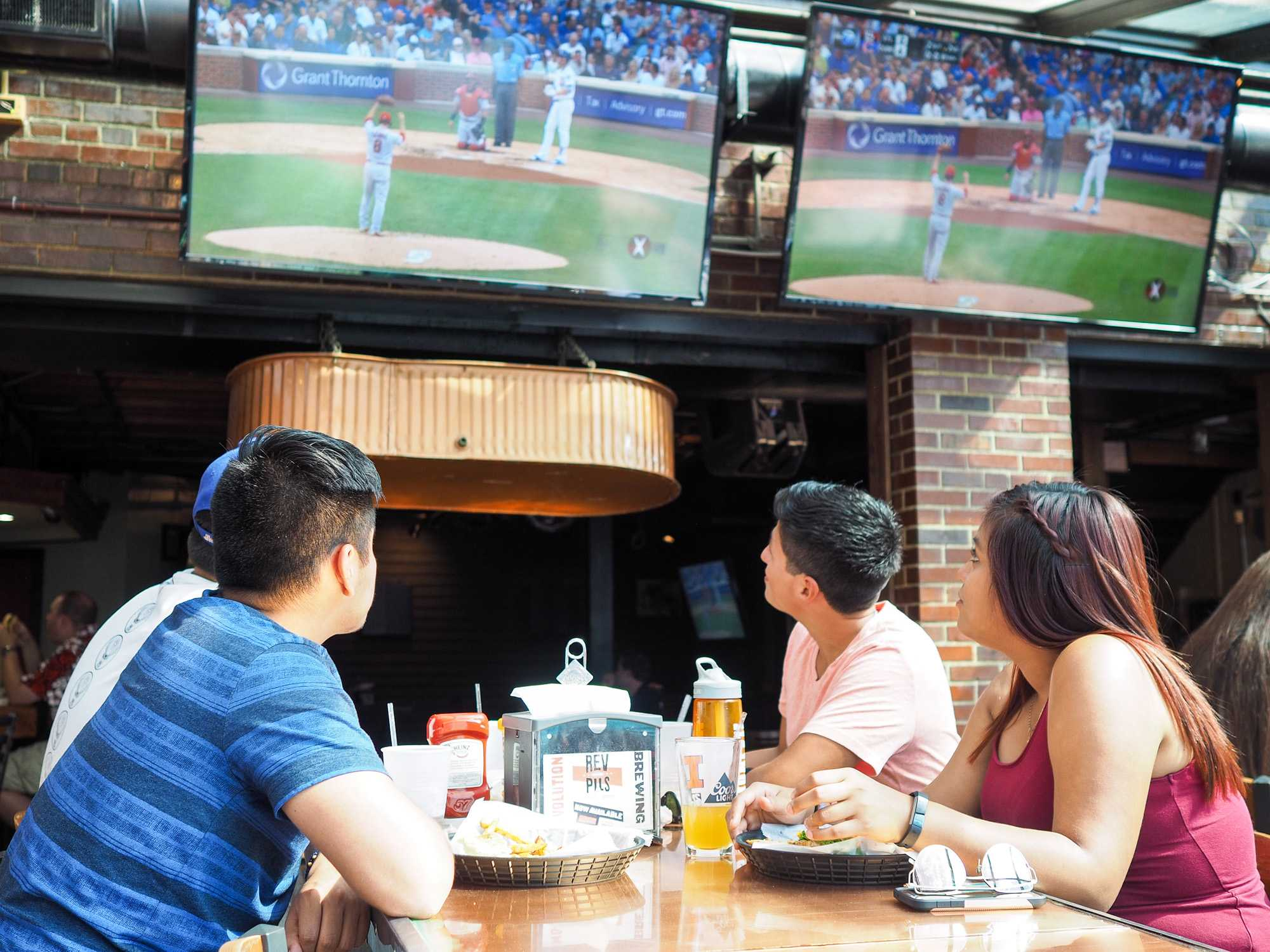 Students gather at Joe's Brewery to watch the Cubs game on September 23, 2016.