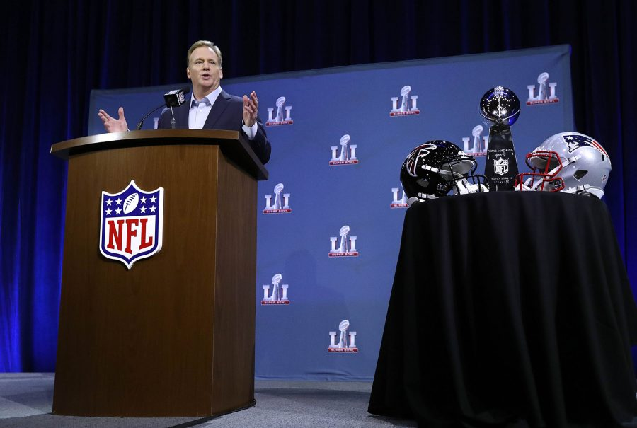 NFL+Commissioner+Roger+Goodell+speaks+at+Super+Bowl+51+press+conference+in+Houston.