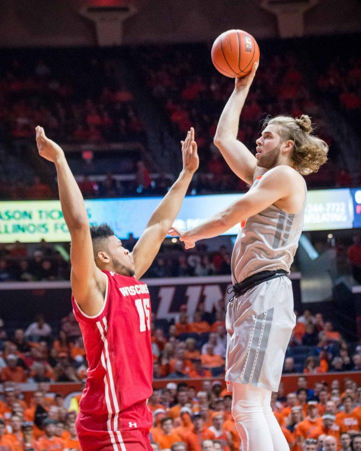 Illinois' Michael Finke (43) goes up for a hook shot during the game against Wisconsin at State Farm Center on Tuesday, January 31. The Illini lost 57-43.