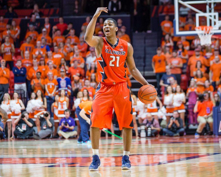 Illinois+Malcolm+Hill+%2821%29+calls+out+the+play+during+the+game+against+Northwestern+at+State+Farm+Center+on+Tuesday%2C+February+21.