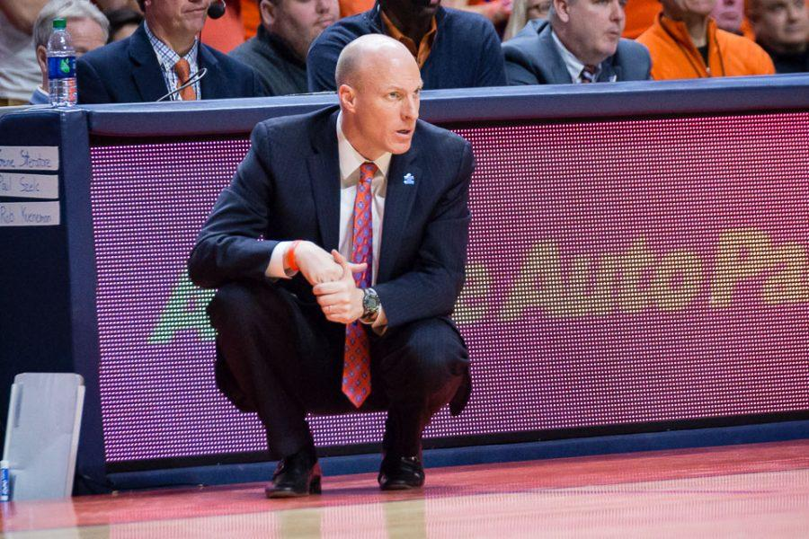 Illinois head coach John Groce watches his team from the sideline during the game against Minnesota at State Farm Center on Saturday, February 4.