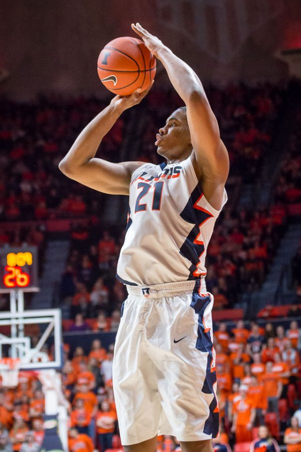 Illinois' Malcolm Hill (21) shoots a three during the game against Minnesota at State Farm Center on Saturday, February 4. The Illini lost 68-59.