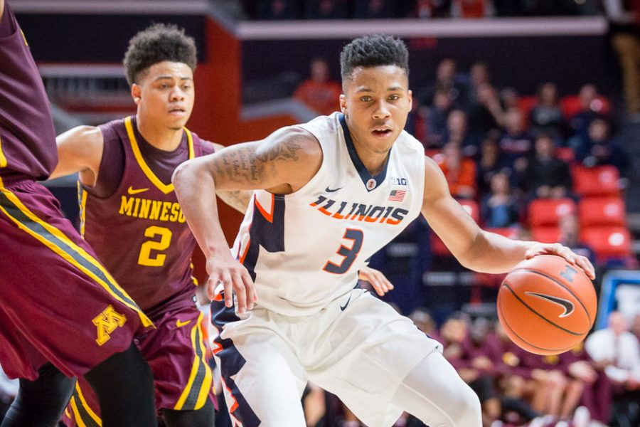 Illinois' Te'Jon Lucas (3) drives to the basket during the game against Minnesota at State Farm Center on Saturday, February 4. The Illini lost 68-59.
