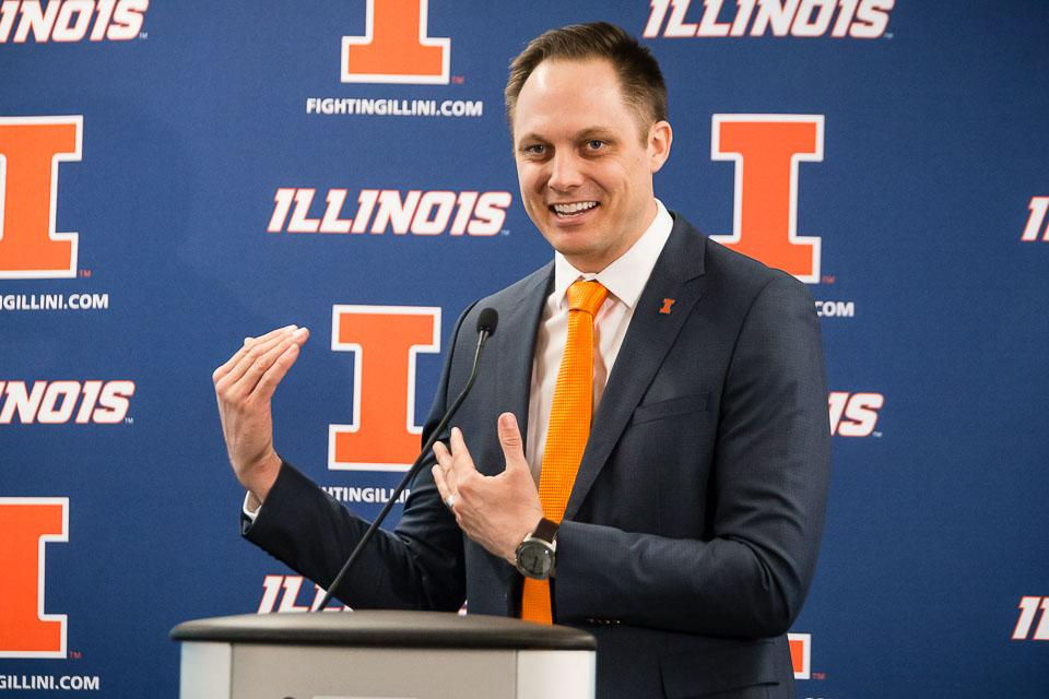 Illinois' new volleyball head coach Chris Tamas speaks during the press conference at the Division of Intercollegiate Athletics on Friday, February 10.