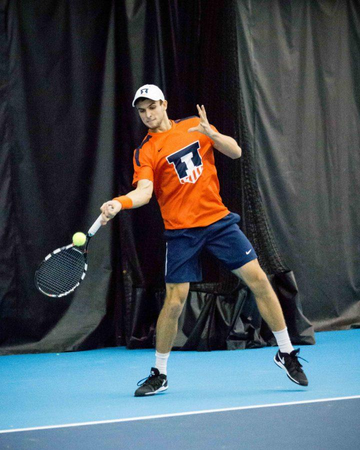 Illinois%27+Aleks+Vukic+returns+the+ball+during+the+match+against+Indiana+at+Atkins+Tennis+Center+on+Friday%2C+February+10.