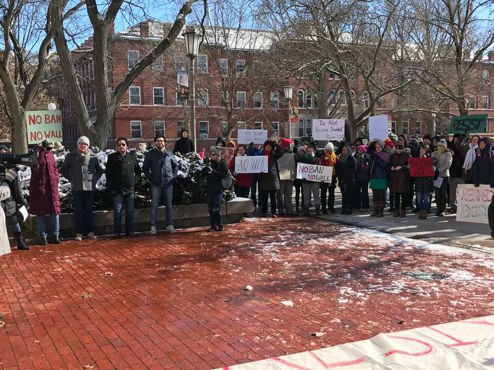 Protestors gather on the Quad for the Immigration rally on Thursday, Feb. 9.