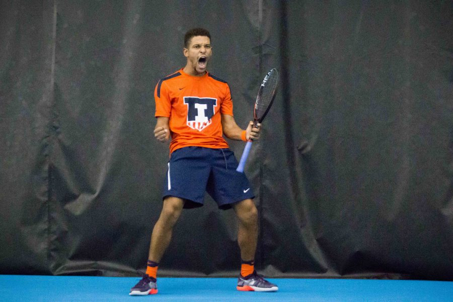 Illinois%27+Julian+Childers+celebrates+after+winning+a+game+in+his+match+against+Indiana%27s+Matthew+McCoy+at+Atkins+Tennis+Center+on+Friday%2C+February+10.+Childers+defeated+McCoy+and+the+Illini+won+5-2.