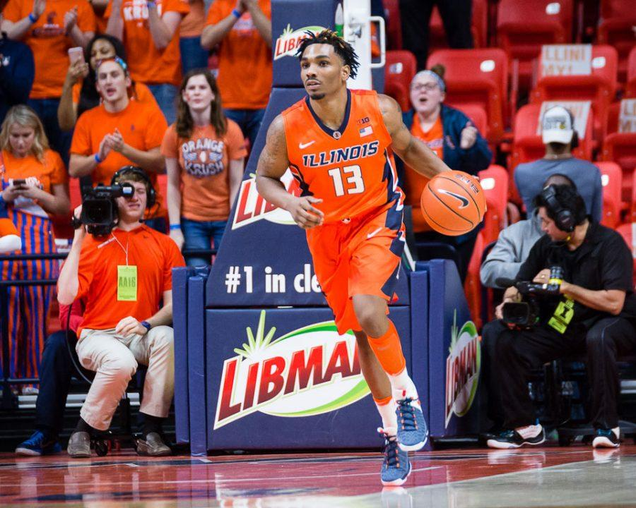 Illinois%27+Tracy+Abrams+%2813%29+brings+the+ball+up+the+floor+during+the+game+against+Penn+State+at+State+Farm+Center+on+Saturday%2C+February+11.+The+Illini+lost+83-70.