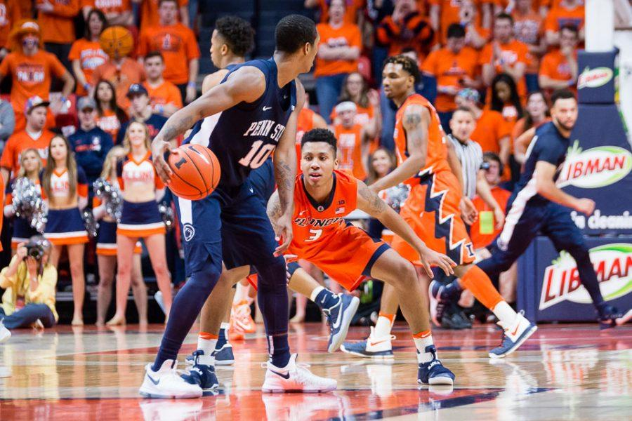 Illinois' Te'Jon Lucas (3) plays defense during the game against Penn State at State Farm Center on Saturday, February 11. The Illini lost 83-70.