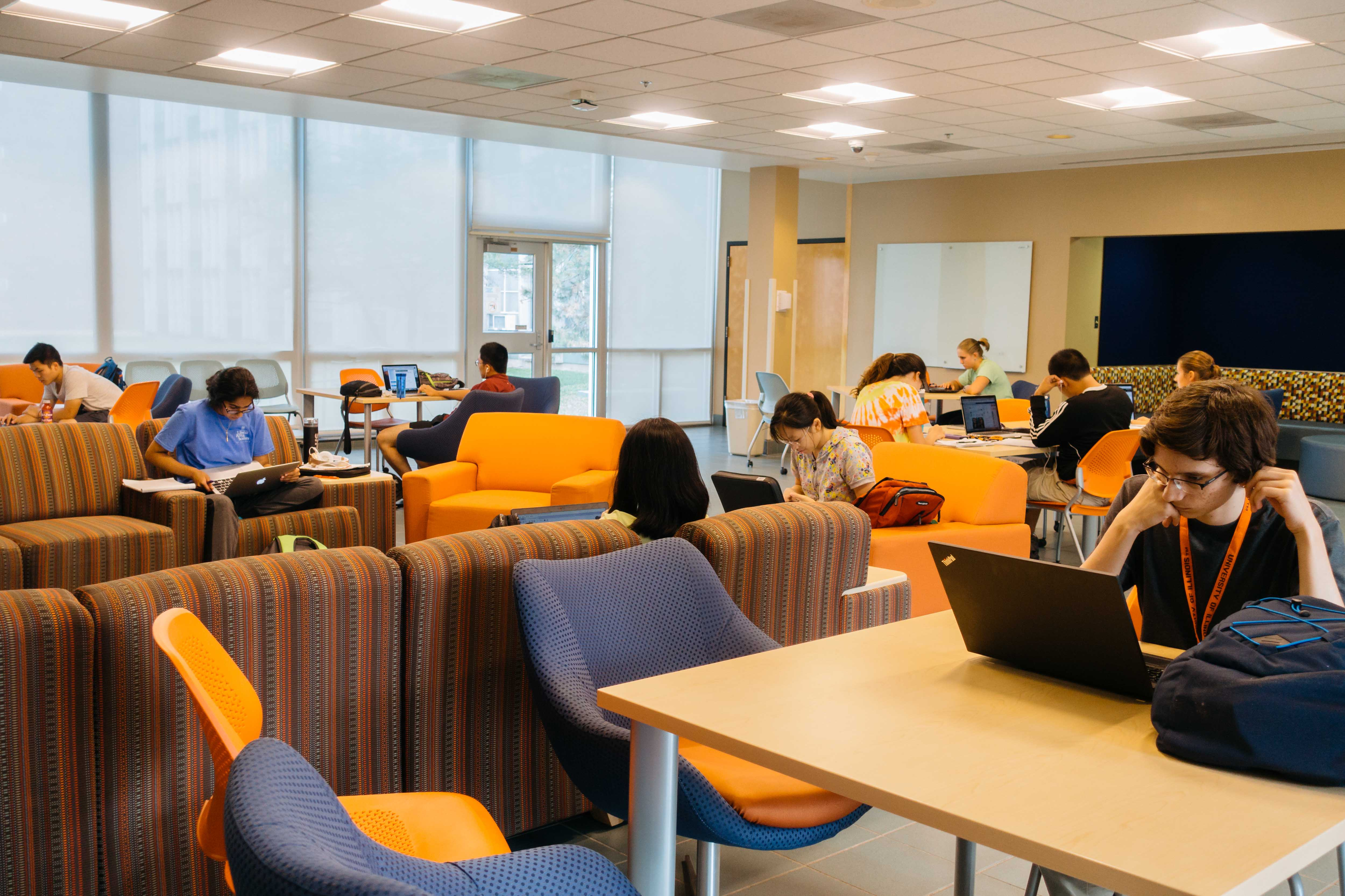 Students study in Illinois Street Residence Hall. Whether or not your random roommate experience is positive, living with someone you don't already know can help you meet new people.