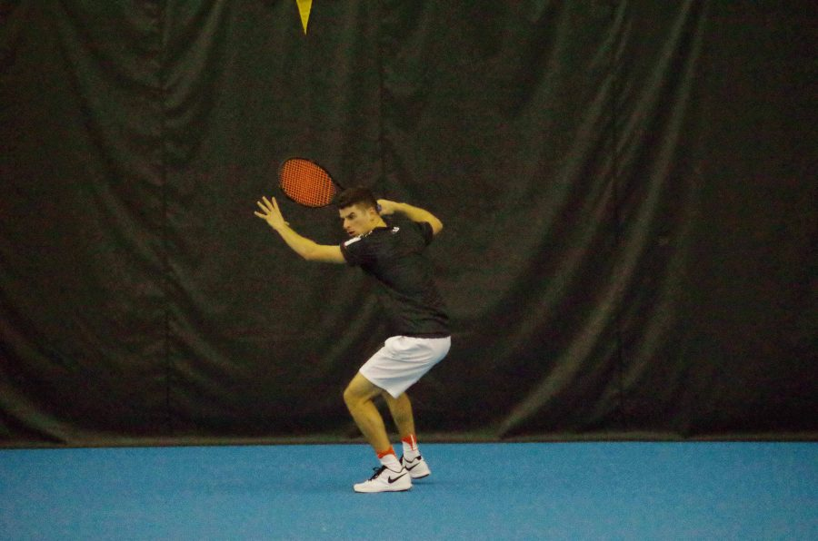 Illinis Aaron Hiltzik  plays in a singles match against North Carolina at the Atkins Tennis Center on Saturday, Feb. 4th.