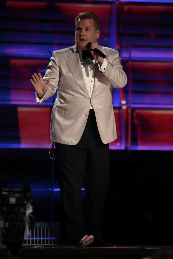 James Corden on stage during the 59th Annual Grammy Awards at Staples Center in Los Angeles on Sunday, Feb. 12, 2017. (Robert Gauthier/Los Angeles Times/TNS)