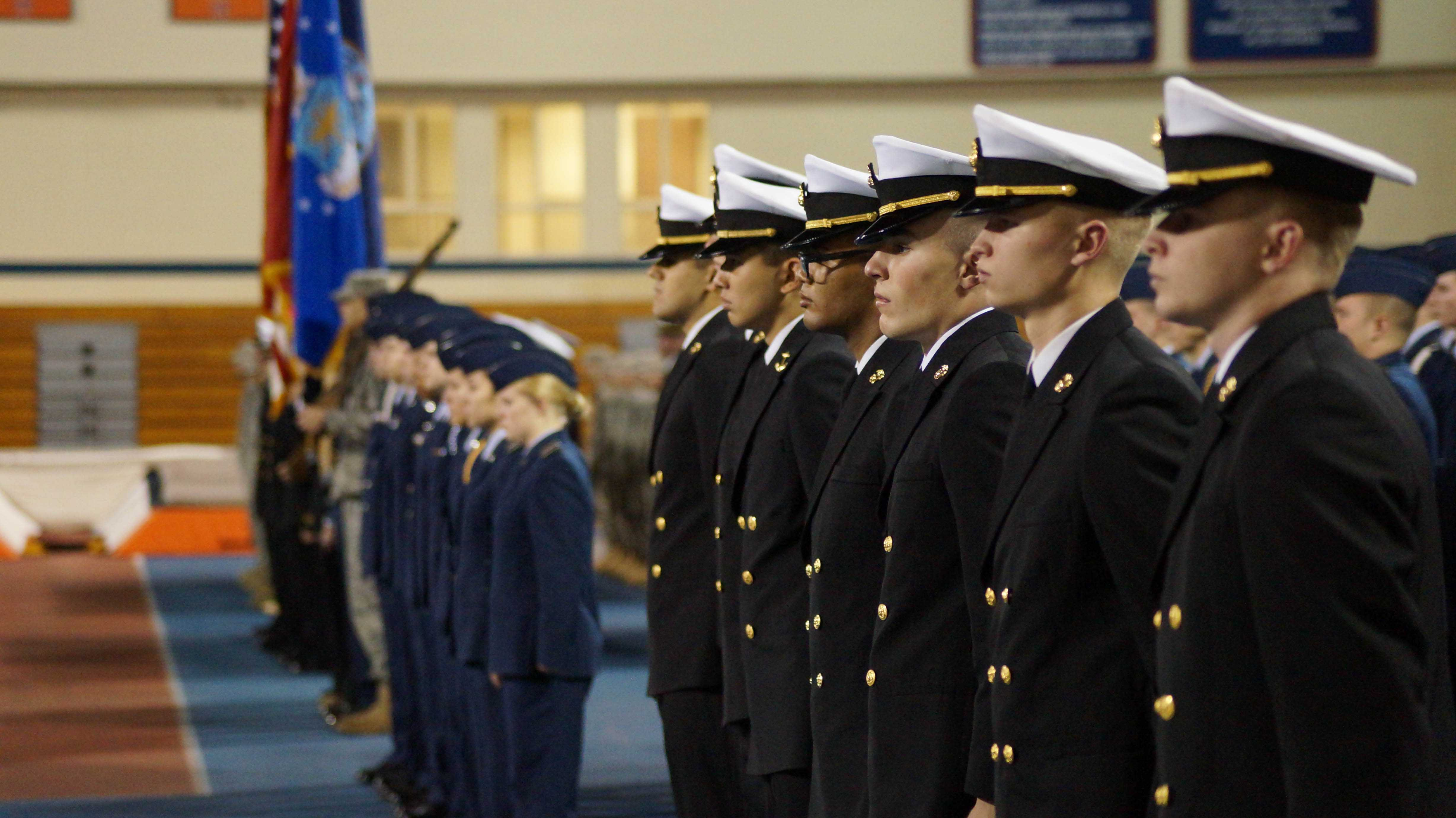 Members of ROTC attend The Tri-Service ROTC Veterans Day Ceremony at the  Armory on November 11, 2014. Columnist Hayley Nagelberg highlights a fundraising effort by the Illini Veterans RSO to raise money for a burned-down veterans house in Danville.
