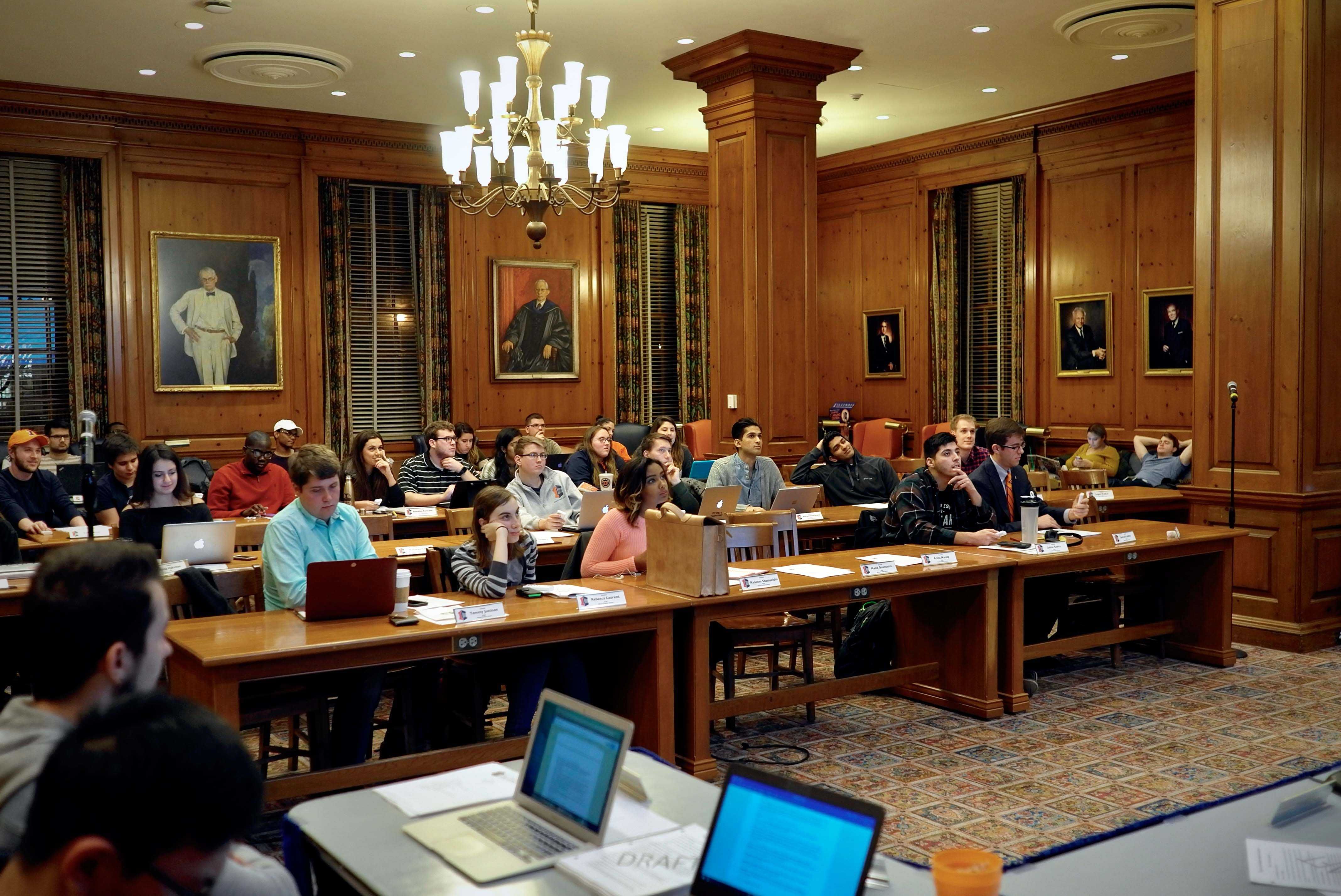 The Illinois Student Government held a meeting in the Pine Room of the Illini Union on Wednesday, Jan. 18th.