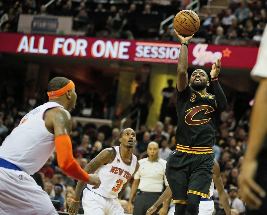 The Cleveland Cavaliers Kyrie Irving puts up an inside shot against the New York Knicks in the third quarter at Quicken Loans Arena in Cleveland on Tuesday, Oct. 25, 2016.