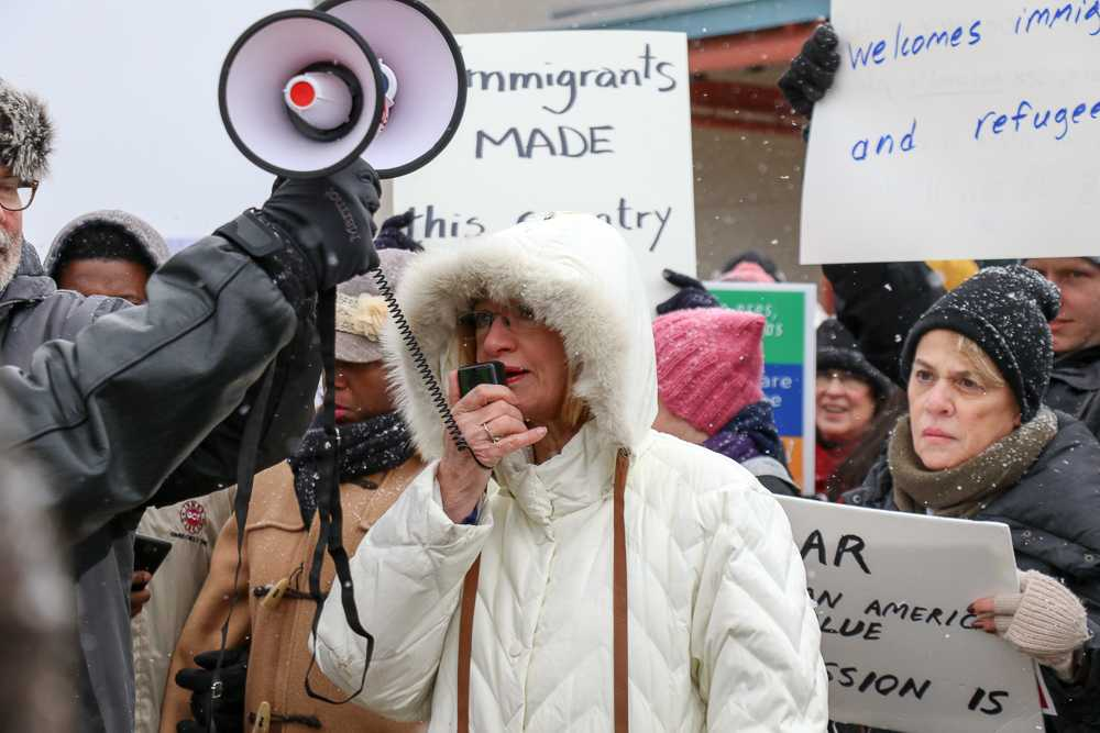 Urbana Mayor Laurel Pressing speaks to the protestors, saying,