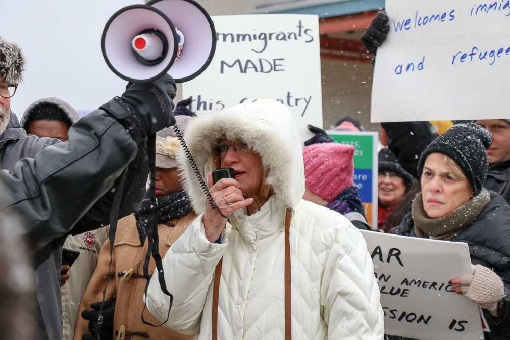 Urbana Mayor Laurel Pressing speaks to the protestors, saying,