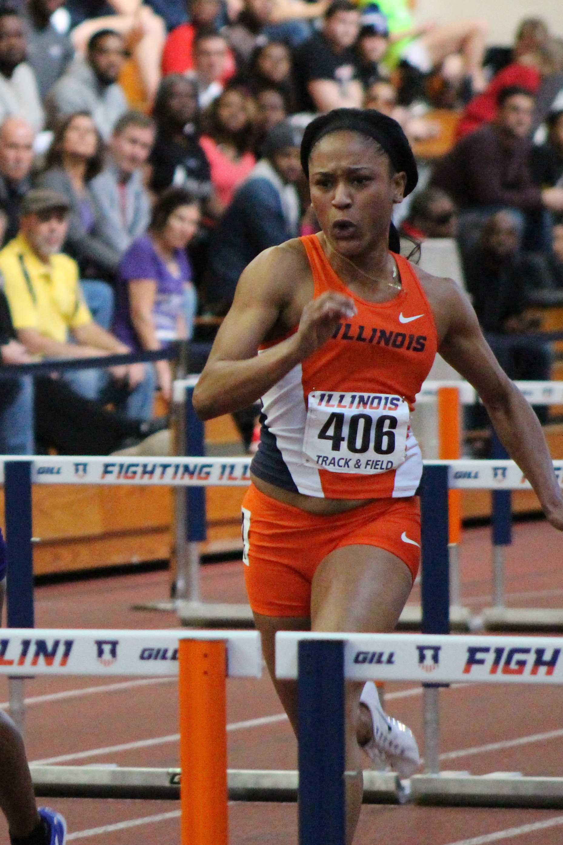 Illinois' Pedra Seymour prepares to jump a hurdle in the Orange and Blue meet at the Armory on Saturday, Feb. 20, 2016.