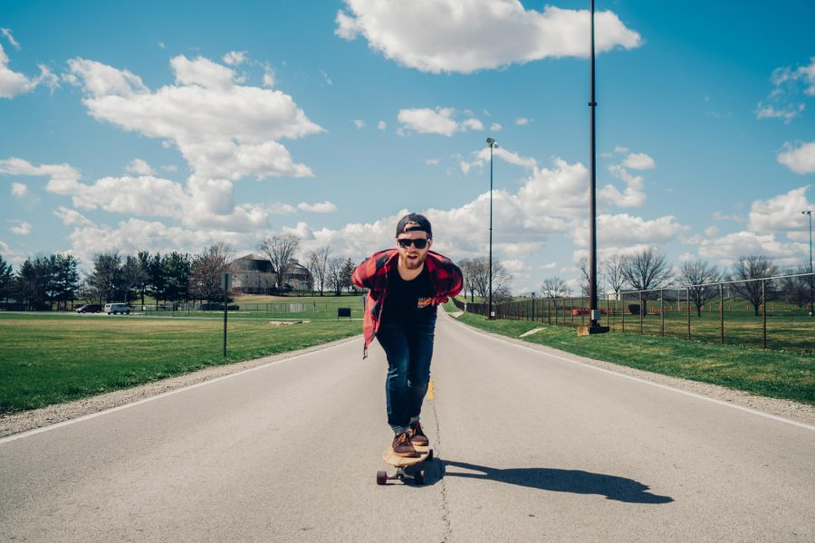 A skateboarder passes the Complex Fields near Florida and Lincoln avenues.