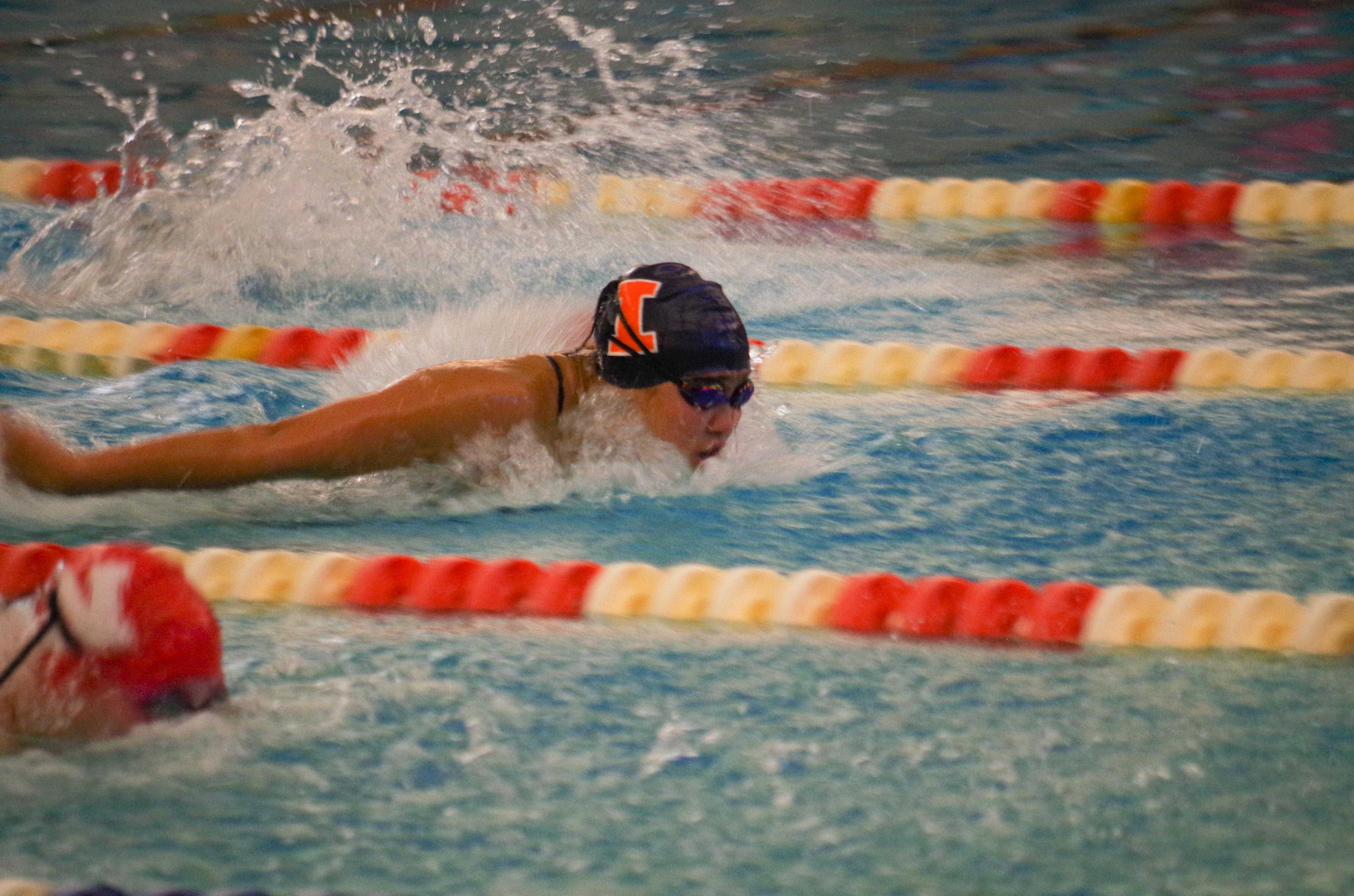 Illini's Megan Vuong swims the butterfly against Nebraska on Jan. 21st in the ARC pool.