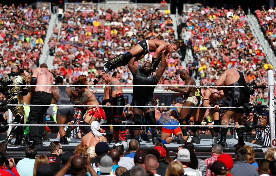 WWE wresters participate in the Andre the Giant Memorial Battle Royal during WrestleMania at Levi Stadium on Sunday, March 29, 2015 in Santa Clara, Calif.