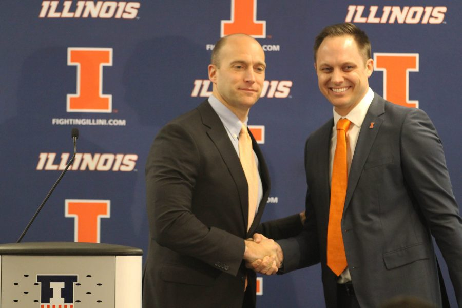 Illinois%27+athletic+director%2C+Josh+Whitman%2C+welcomes+Chris+Tamas+into+the+Illinois+family+as+the+new+head+coach+of+the+Women%27s+Volleyball+team+at+Biefeldt+Athletics+Administration+Building+on+Friday%2C+Feb.+10.