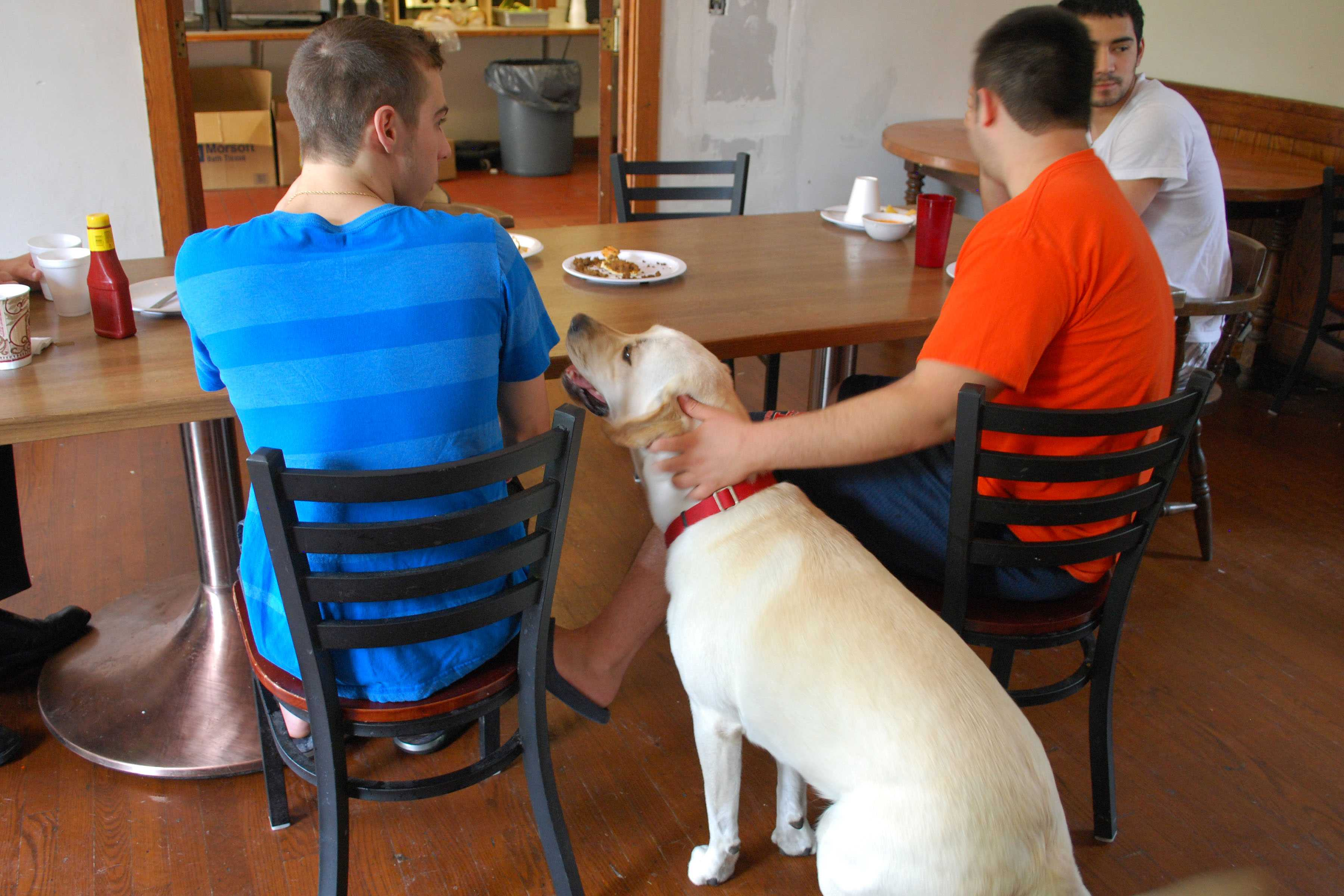 Wrigley, the Acacia house dog, sits with members of the Fraternity during lunch. People should weigh the pros and cons before getting a pet in college.