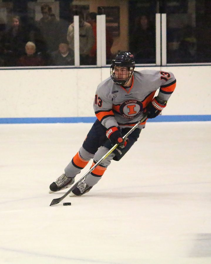 James+McGing+%2813%29+gains+possession+against+Lindenwood+to+take+the+puck+up+the+ice+at+the+Ice+Arena+on+Friday%2C+Jan.+20th.+Illini+lost+to+Lindenwood+2-6.