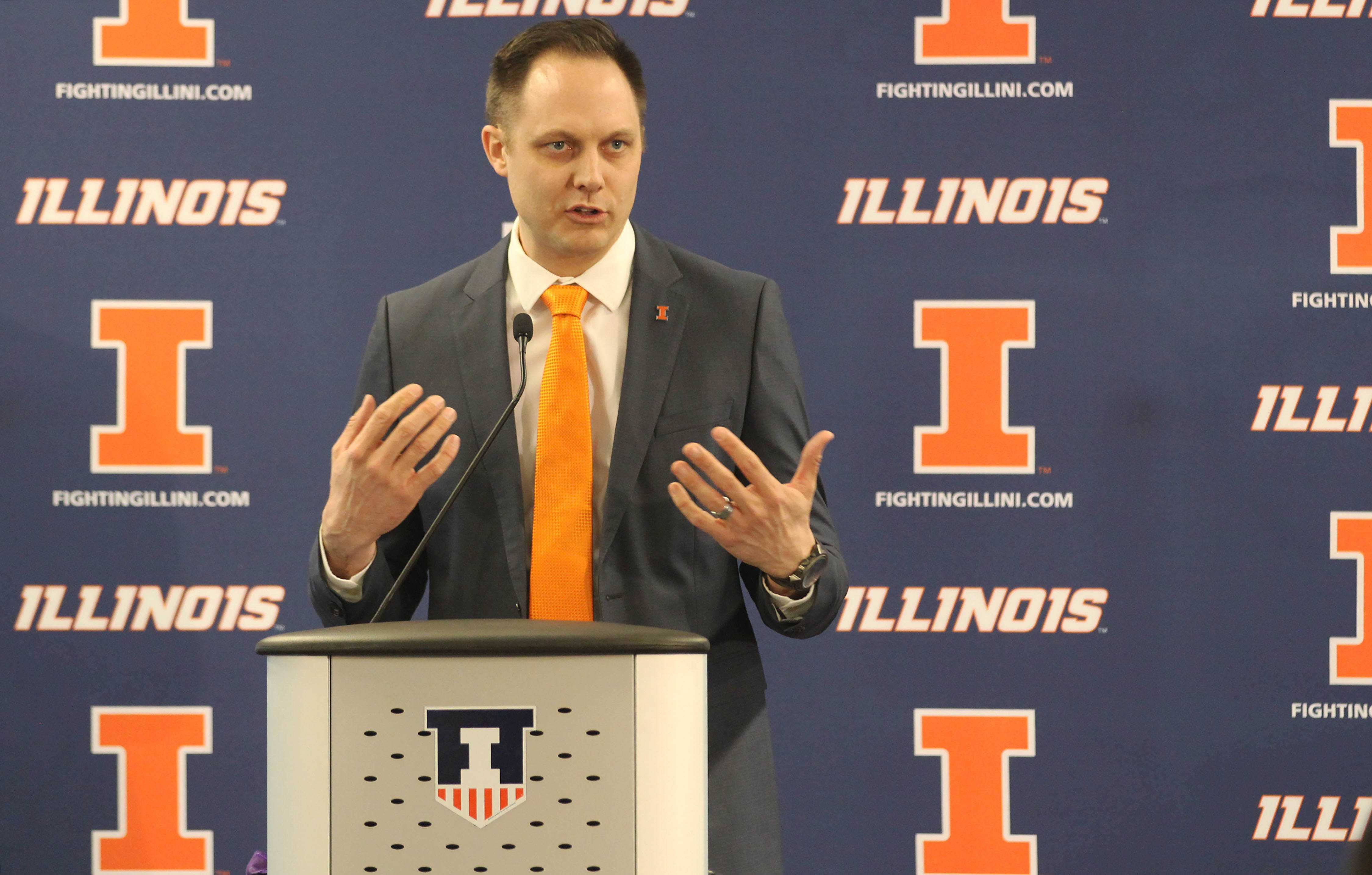 Chris Tamas talks to the press for the first time about being Illinois' new head coach of the Women's Volleyball team at Biefeldt Athletics Administration Building on Friday, Feb. 10.