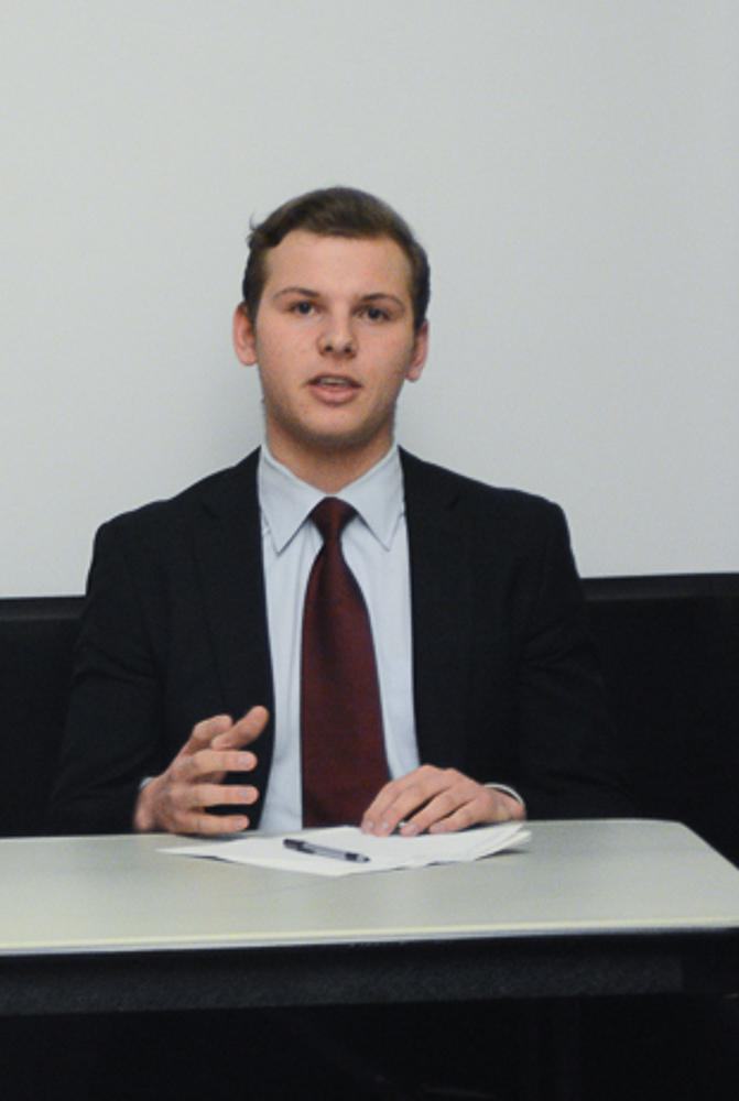 Jesse Tabak speaks at the student body president candidate debate Monday, March 6. Tabak dropped out of the race the day before the election.