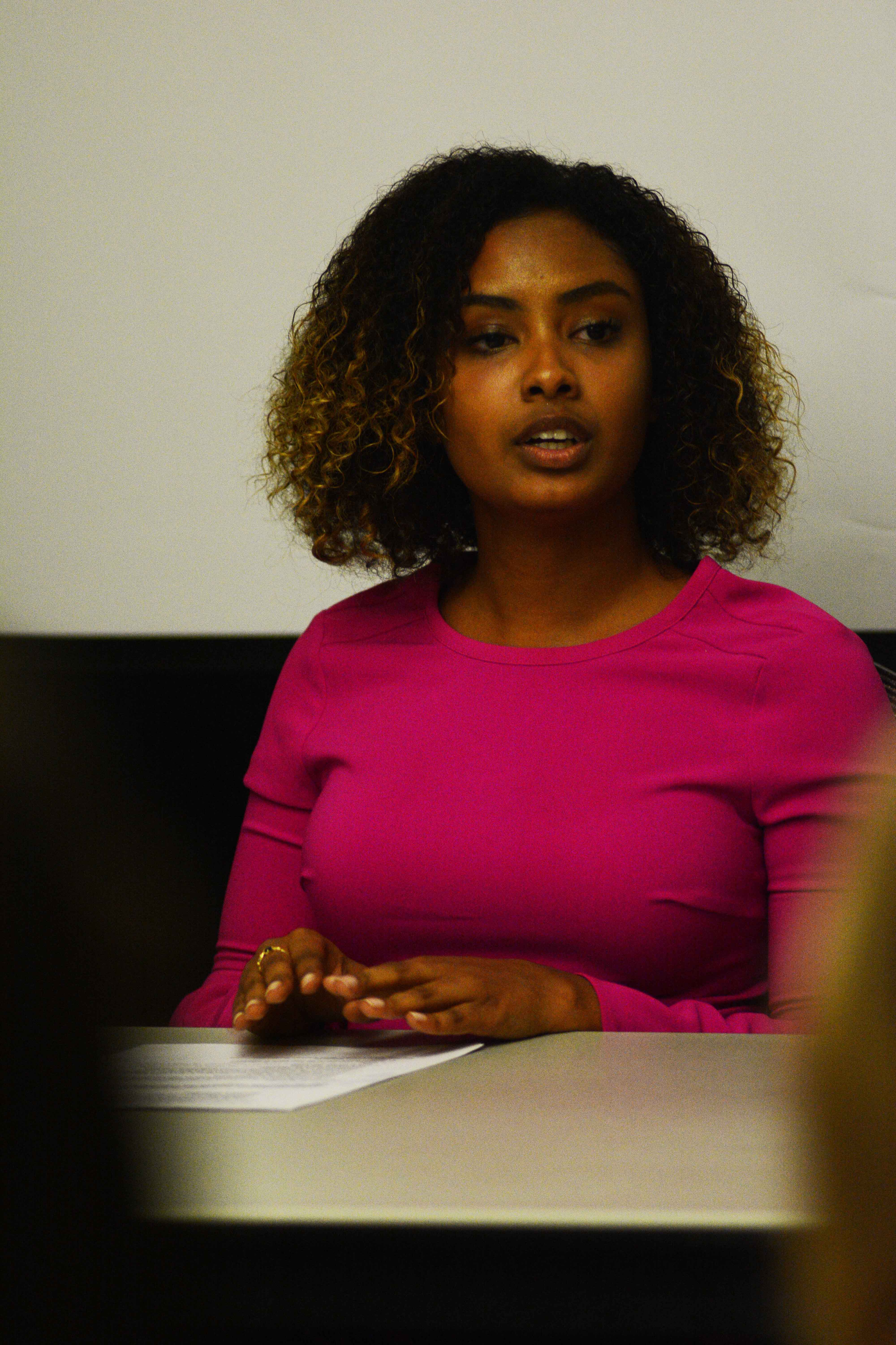 Raneem Shameldin, pictured at a debate on March 6, is predicted to win the election for student body president.