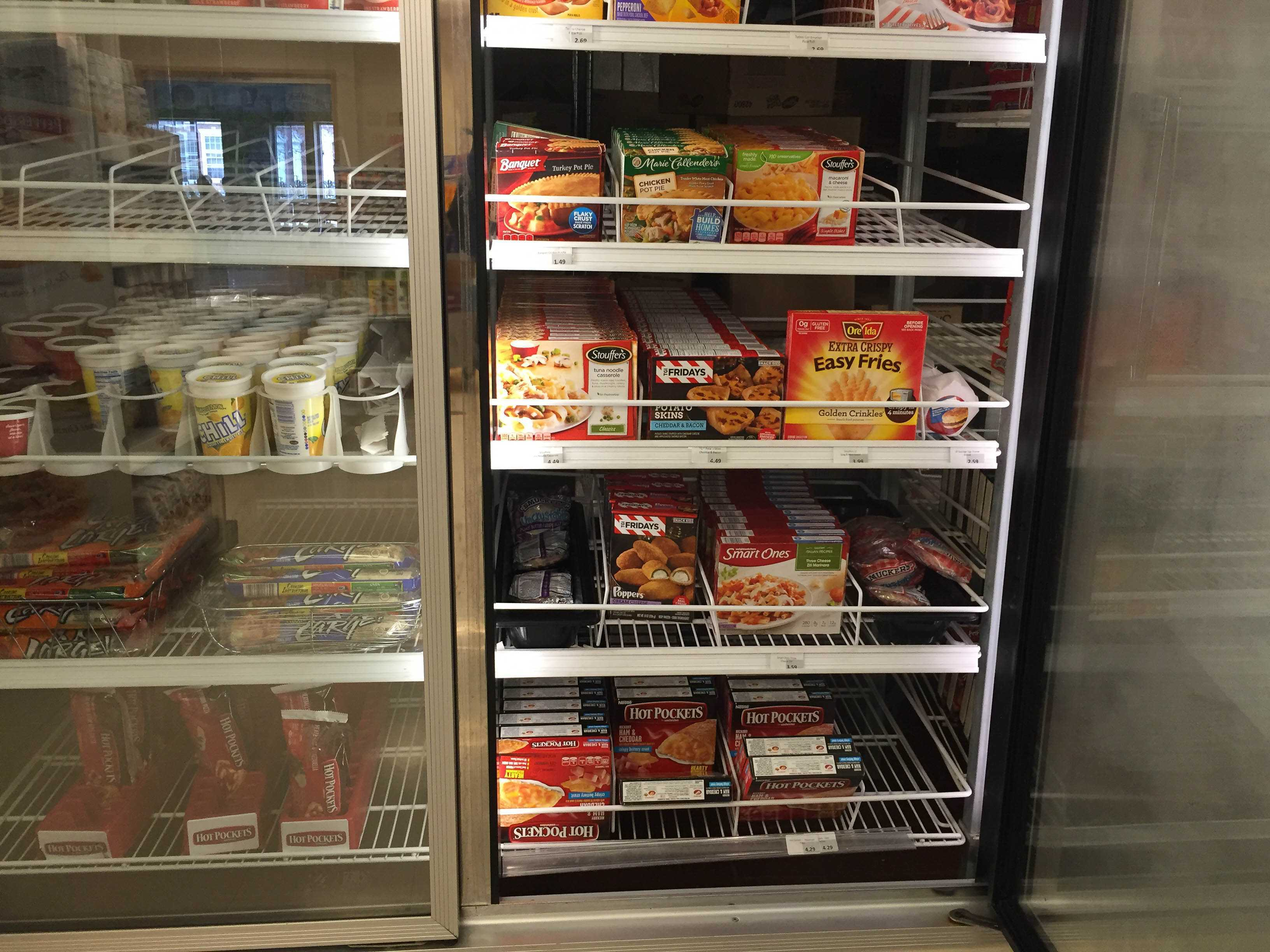 Frozen food shelved in Ikenberry's 57 North. March 6 is National Frozen Food Day, and frozen foods have a long history on campus.