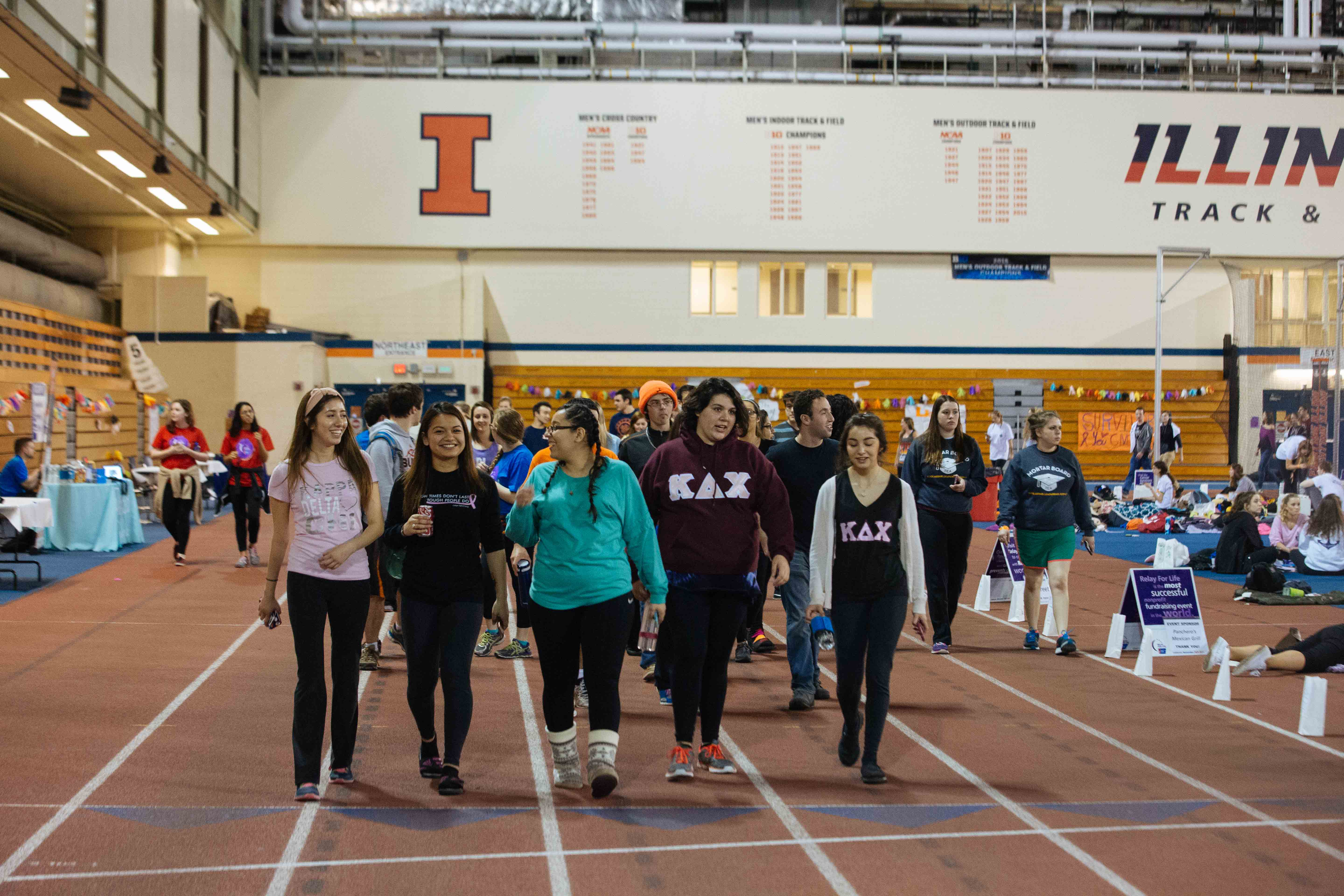 Students at the University attend the annual Relay for Life to fight against cancer at the Armory.
