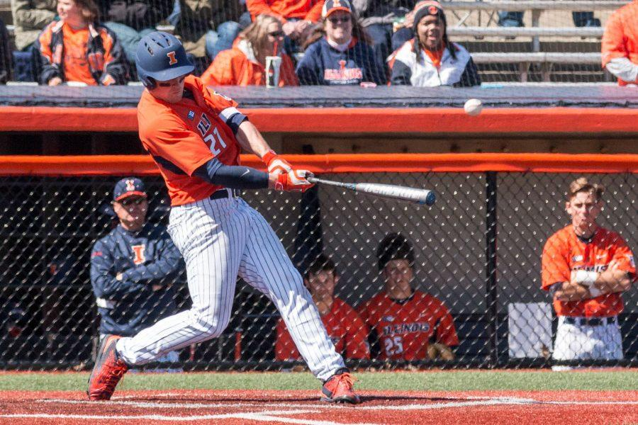 Illinois%E2%80%99+Pat+McInerney+hits+a+single+to+left+field+during+game+one+of+the+team%27s+doubleheader+against+Penn+State+at+Illini+Field+on+Saturday%2C+March+26.
