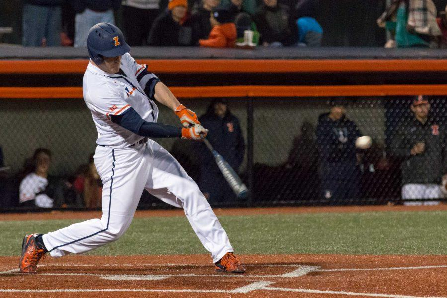 Illinois' Pat McInerney singles against Eastern Illinois on Tuesday, April 5. The senior had a double and drew a walk against Bradley.