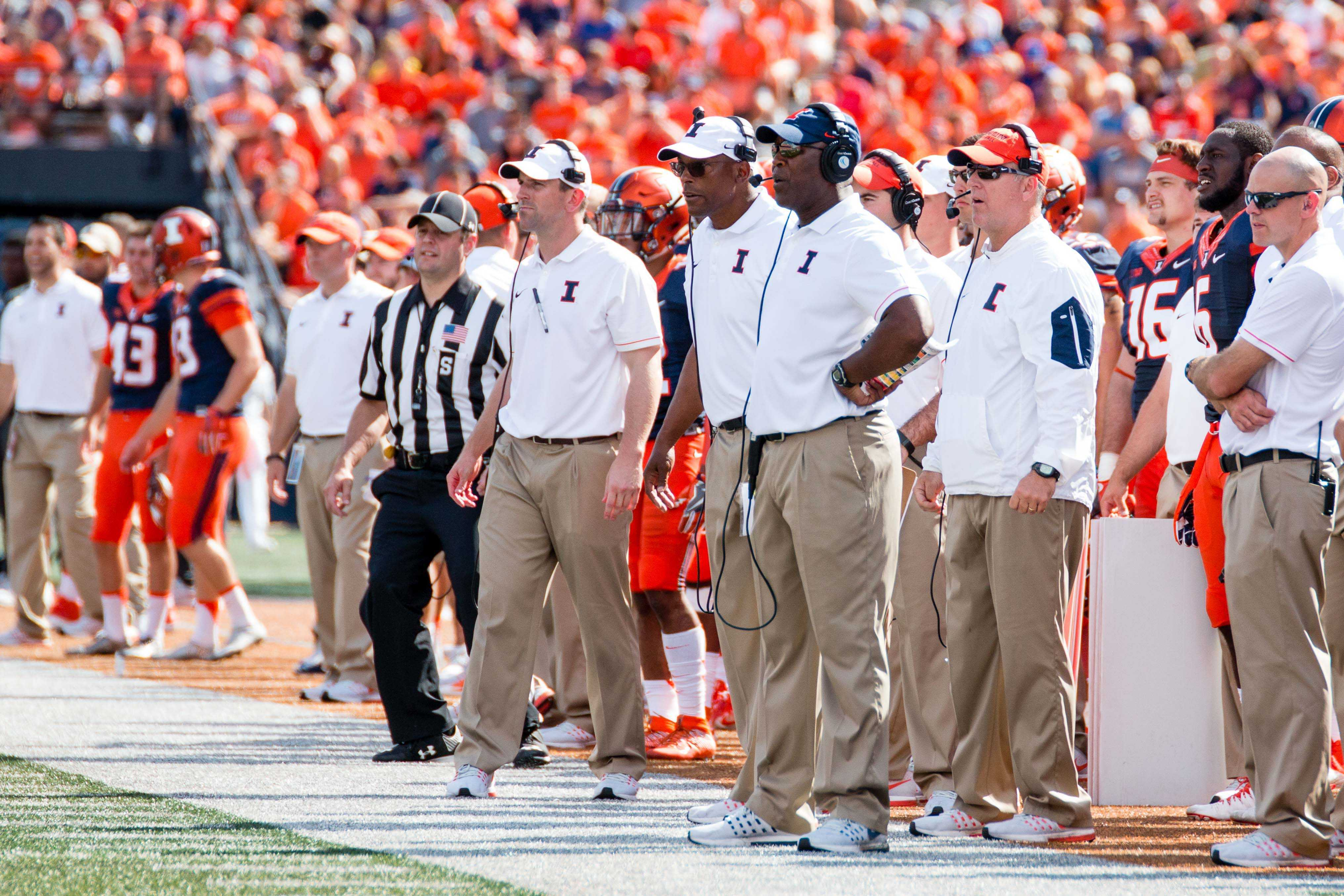 Illinois head coach Lovie Smith watches his team from the sidelines during the game against Murray State at Memorial Stadium on Sept. 3. The Illini's 12th spring practice will be open to the public on Saturday.