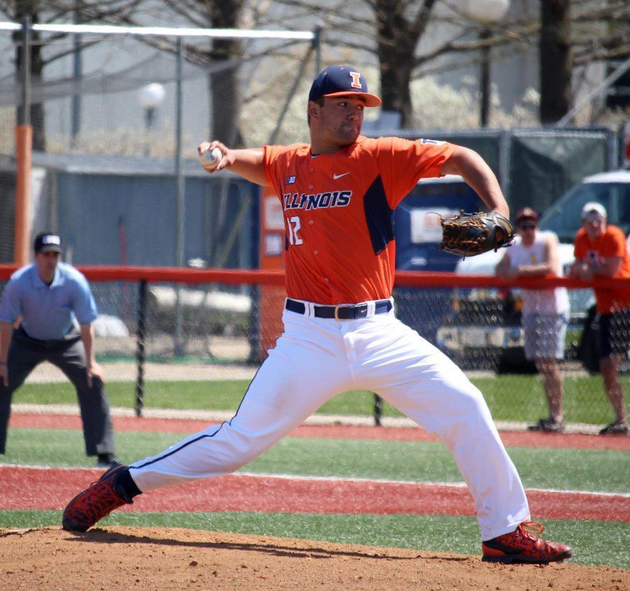 Cole+Bellair+pitches+in+a+game+against+St.+Louis+University+on+April+17+at+Illinois+Field.++Bellair%27s+performance+against+Coastal+Carolina+earned+him+praise+from+head+coach+Dan+Hartleb.