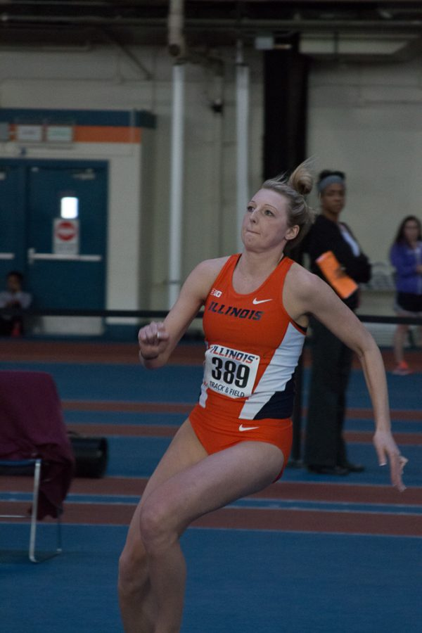 Illinois' Kandie Bloch-Jones (Jr.) attempts the high jump at the Orange&Blue Meet at Armory on Saturday, Feb. 20, 2016.