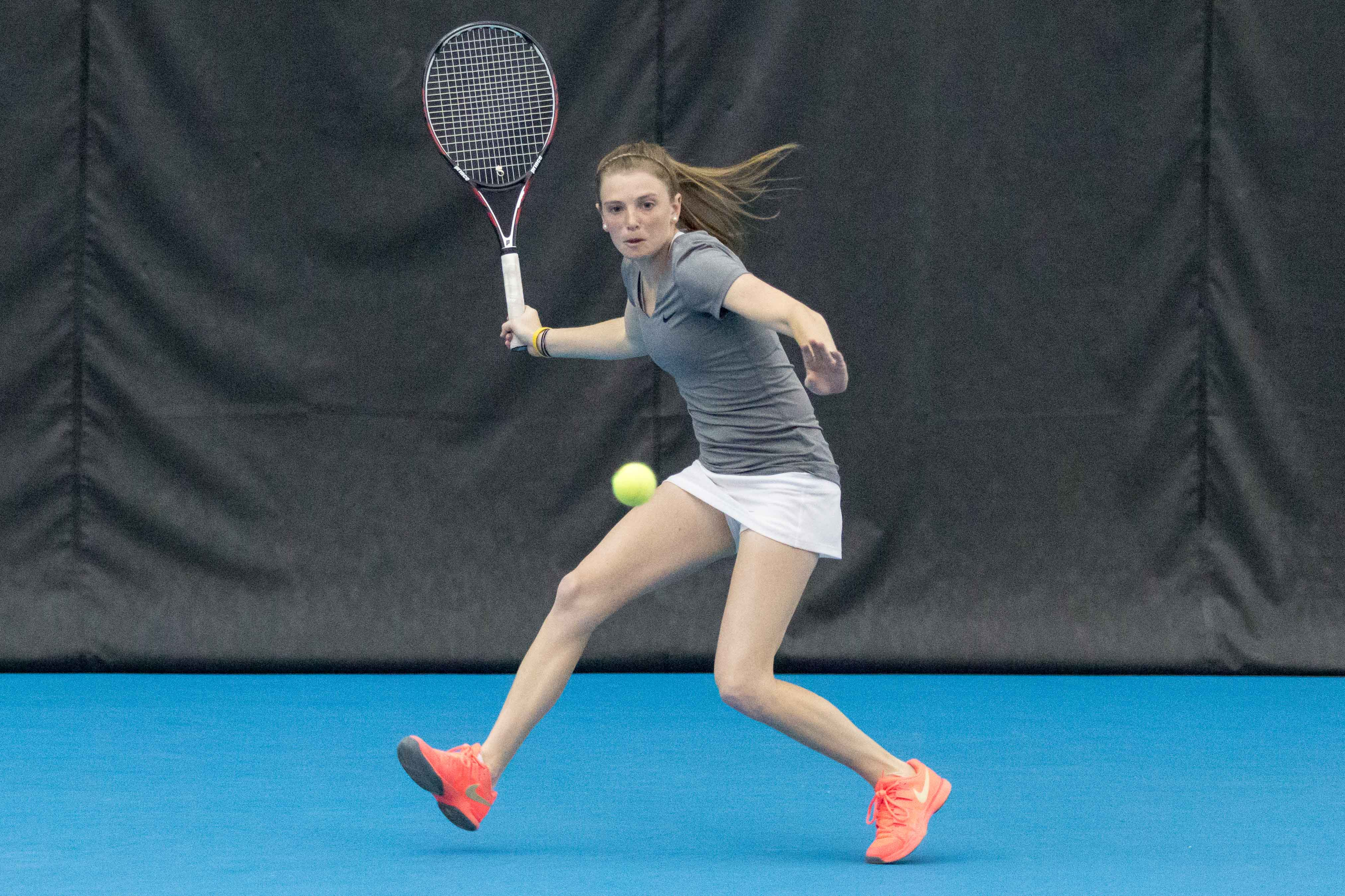Illinois' Alexis Casati gets ready to return the ball during the match against Nebraska at the Atkin's Tennis Center on Sunday, April 3. The Illini won 4-1.