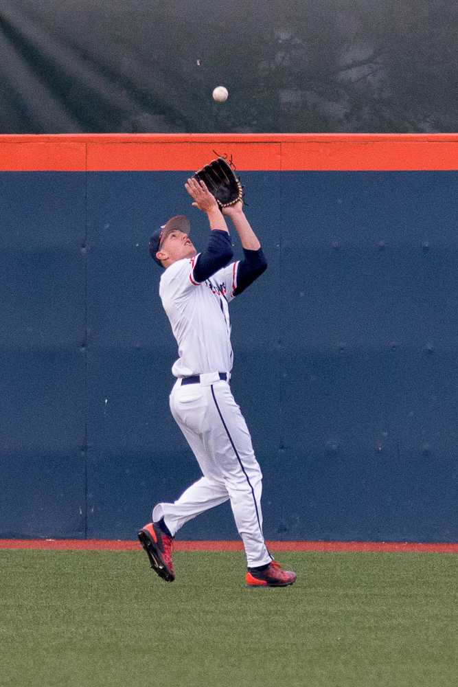 Illinois center fielder Doran Turchin gets ready to catch a fly ball during the game against Eastern Illinois at Illini Field on Tuesday, April 5. The Illini won 9-7.
