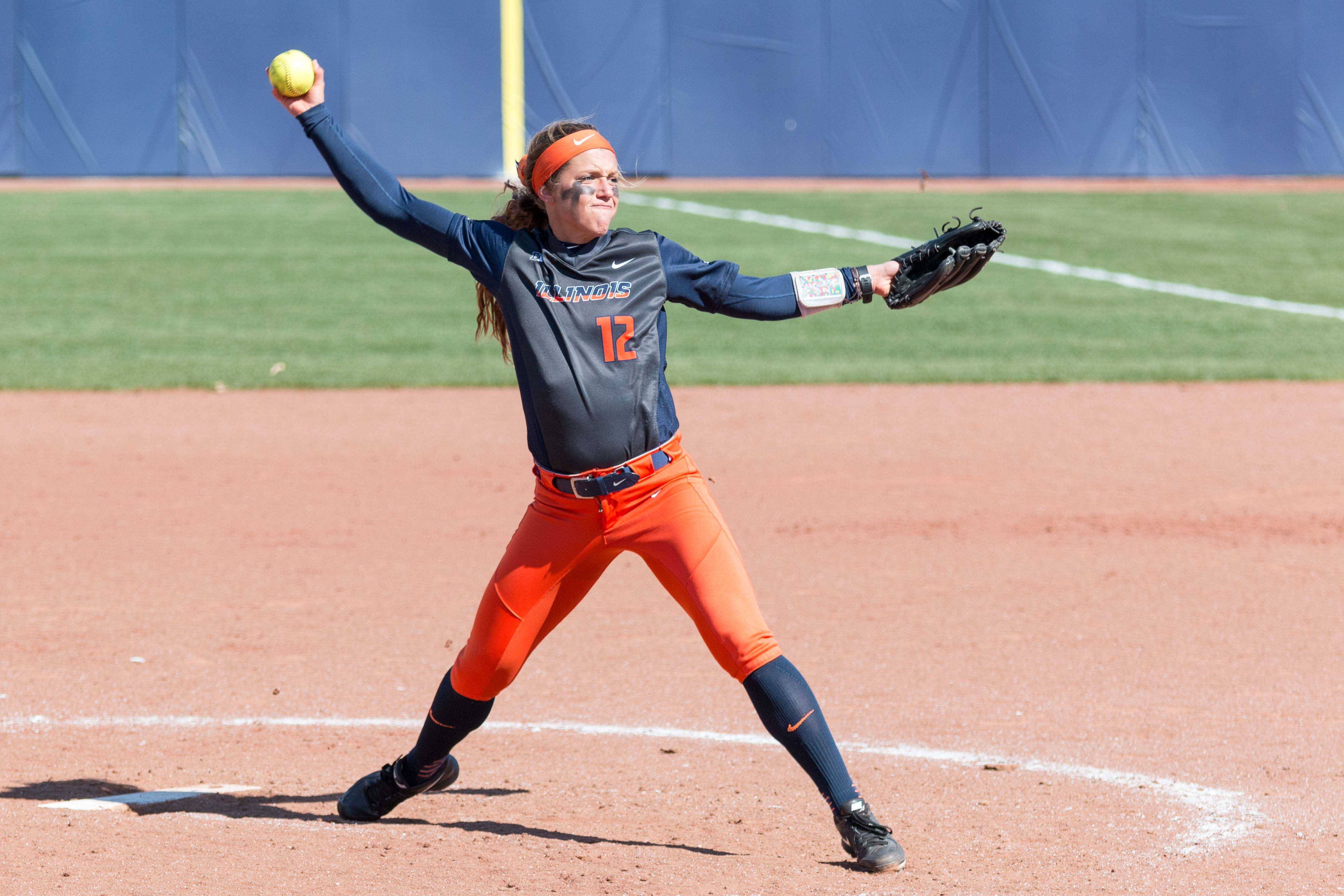 Illinois relief pitcher Taylor Edwards delivers the pitch during game two of the series against Nebraska at Eichelberger Field on Saturday, April 2. At last weekend's LSU Invitational, the Illini won against ISU, Florida Atlantic and Troy. They lost one game to LSU.
