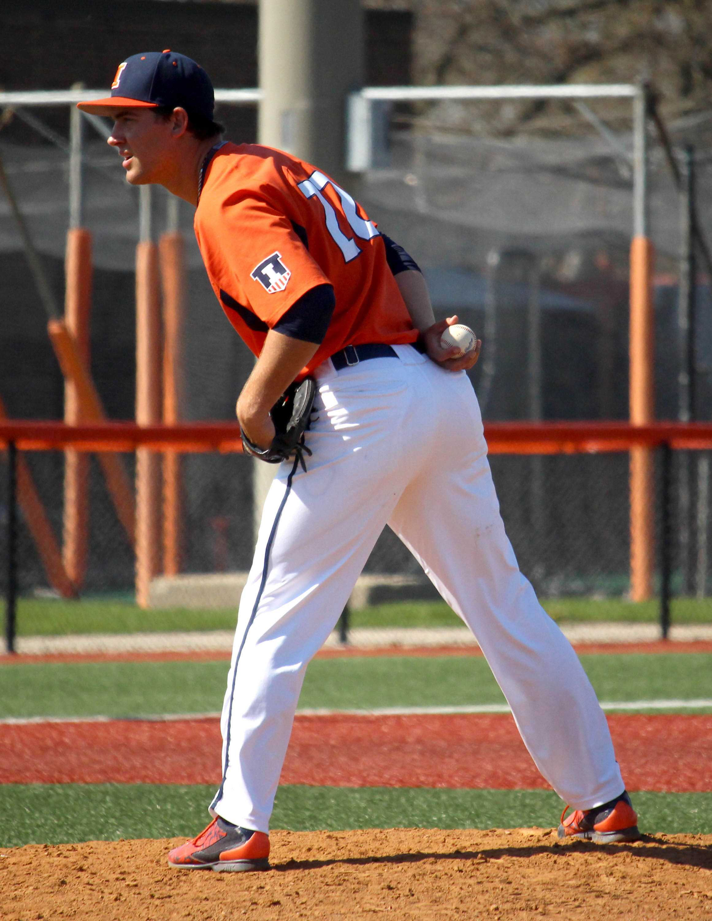 Nick Blackburn pitches the ball at the Illini Field on April 17, 2016. Illinois played against Saint Louis and won 6-2.