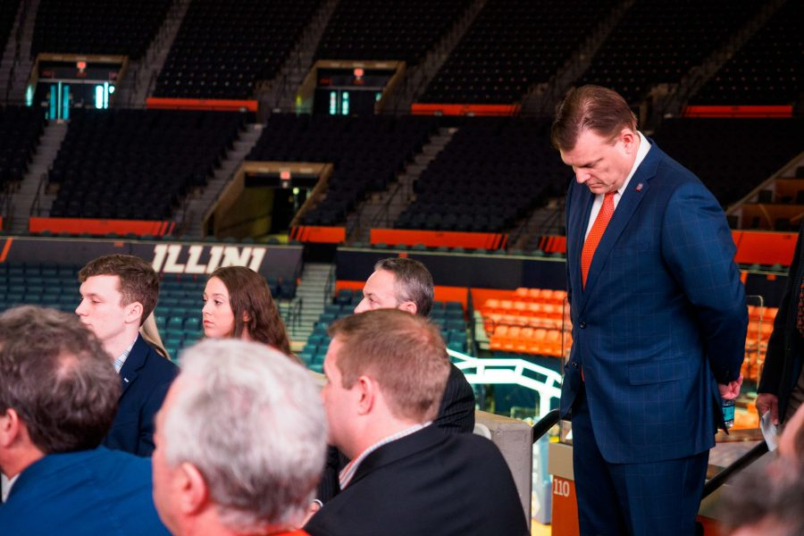 Brad Underwood stands before his speech at the State Farm Center on March 20. Monday afternoon, forward George Conditt officially announced that he will be attending Iowa State University over the University of Illinois.