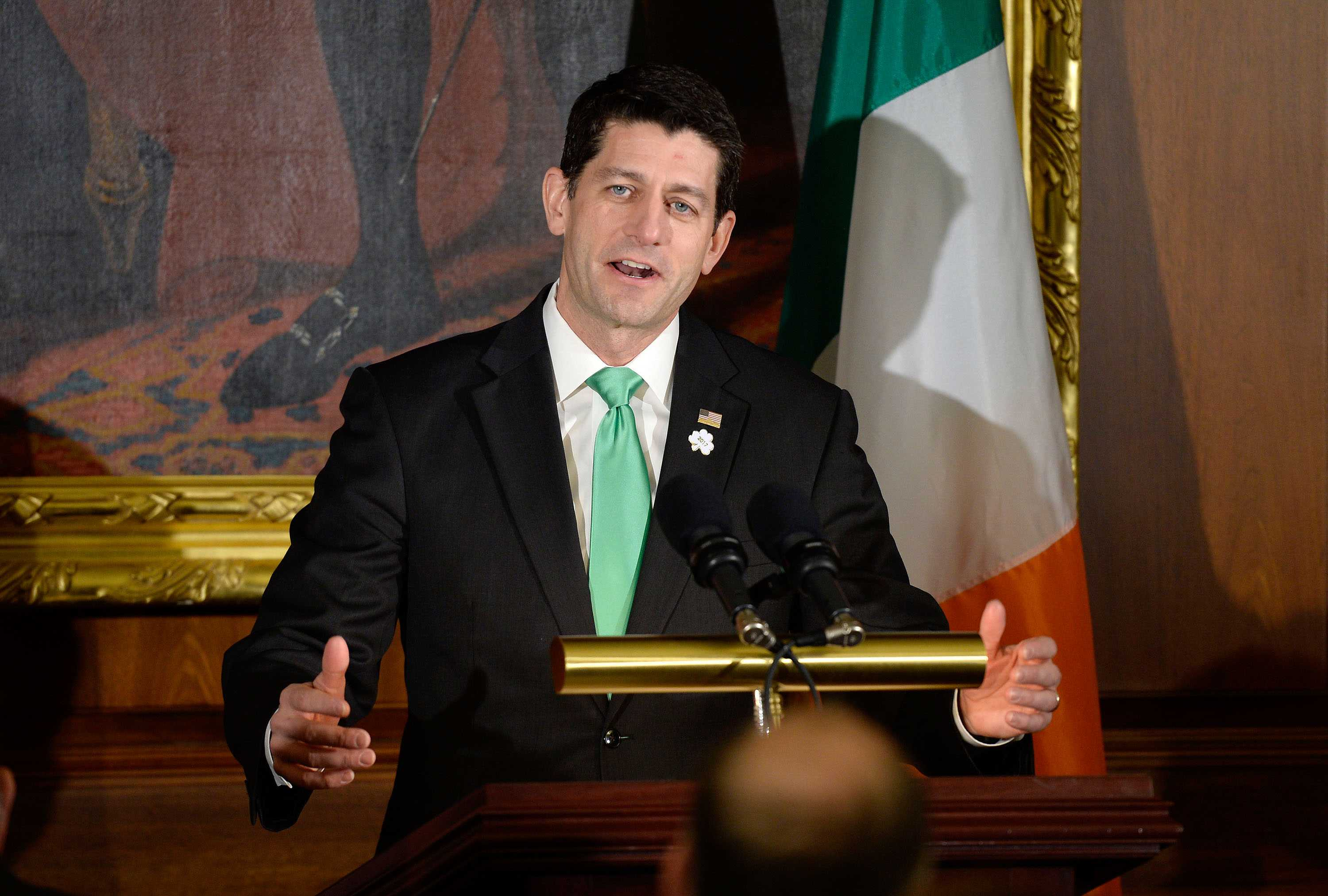House Speaker Paul Ryan speaks during the Friends of Ireland Luncheon at the U.S. Capitol on March 16, 2017 in Washington, D.C.