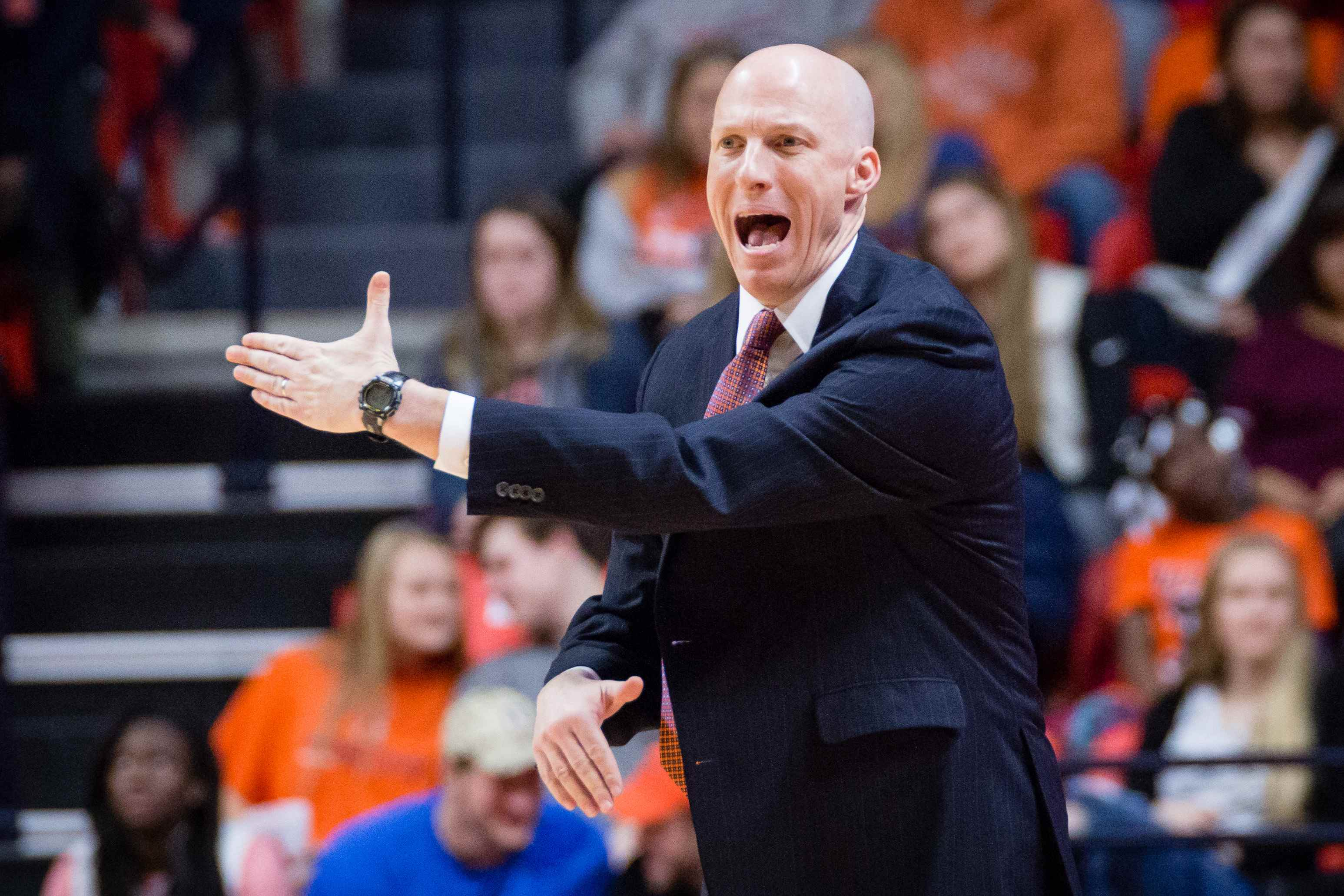 Illinois head coach John Groce shouts instructions to his team from the sideline during the game against Iowa at State Farm Center on Wednesday, January 25. Groce was relieved of his duties by Athletic Director Josh Whitman on Saturday.